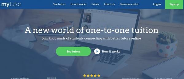 Screenshot of MyTutor website homepage