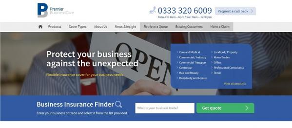 Screenshot of the Premier BusinessCare website