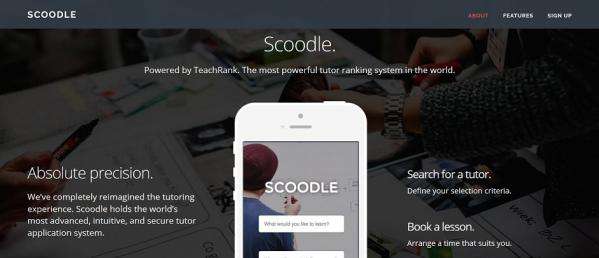 Screenshot of Scoodle website homepage